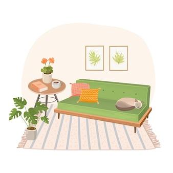 Nowoczesne wnętrze domu z sofą i śpiącym kotem
