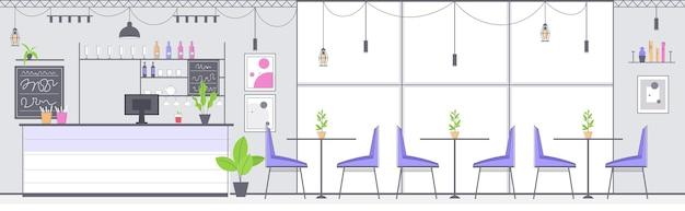 Nowoczesne wnętrze kawiarni puste nie ma ludzi restauracja pozioma ilustracja