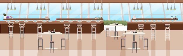 Nowoczesne wnętrze kawiarni puste restauracja bez ludzi z meblami płaski poziomy baner