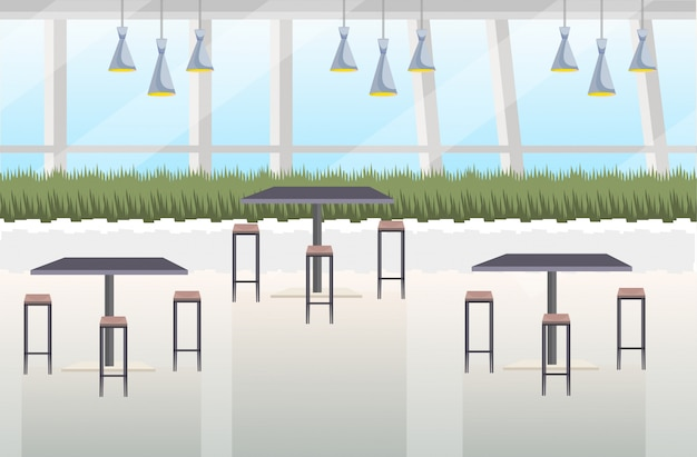 Nowoczesne wnętrze kawiarni puste restauracja bez ludzi z meblami płasko poziomo