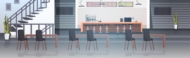 Nowoczesne wnętrze kawiarni puste restauracja bez ludzi z meblami poziomymi