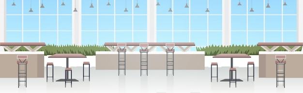 Nowoczesne wnętrze kawiarni puste restauracja bez ludzi z meblami