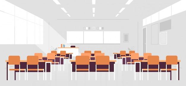 Nowoczesne wnętrze klasy pusta pusta sala szkolna bez osób z deską i biurkami