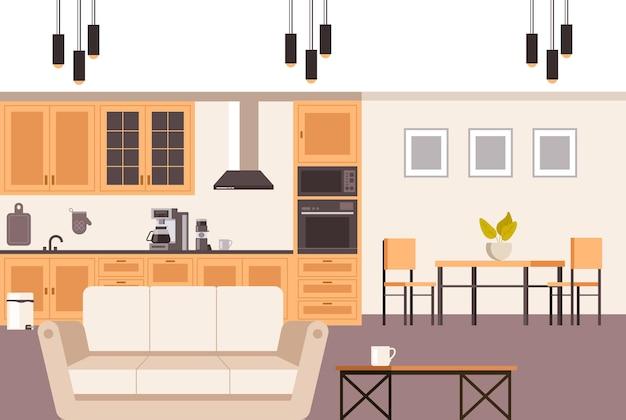 Nowoczesne wnętrze kuchni domowej.