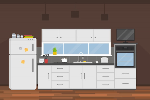 Nowoczesne wnętrze kuchni z meblami i urządzeniami elektrycznymi. dom . temat gotowania. płaska ilustracja.