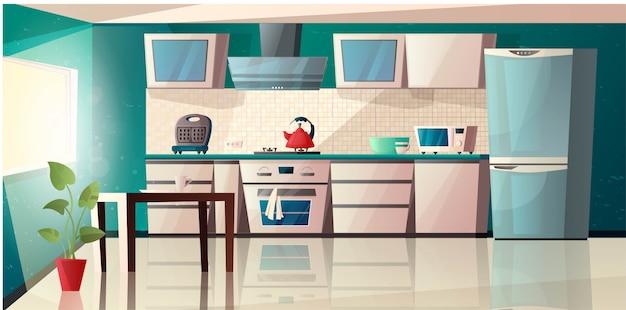 Nowoczesne wnętrze kuchni z wyposażeniem. piekarnik, mikrofalówka, czajnik, toster, okap kuchenny, stół, lodówka i garnek z rośliną. ilustracja kreskówka.