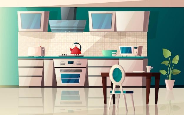 Nowoczesne wnętrze kuchni z wyposażeniem. piekarnik, mikrofalówka, czajnik, toster, wyciąg, okap, stół i krzesło z rośliną. ilustracja kreskówka.