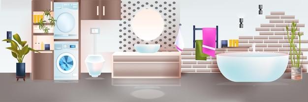 Nowoczesne wnętrze łazienki puste mieszkanie bez ludzi z meblami poziomymi ilustracji wektorowych