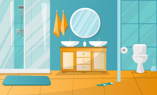 Nowoczesne wnętrze łazienki z kabiną prysznicową