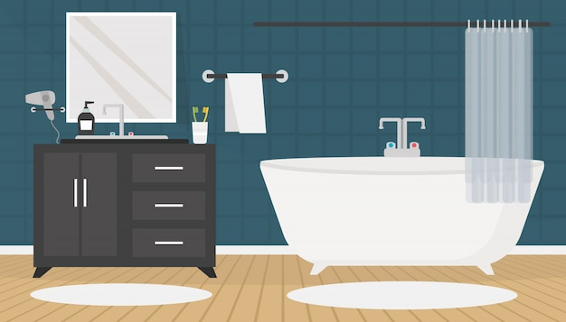 Nowoczesne wnętrze łazienki z meblami w stylu płaskiej