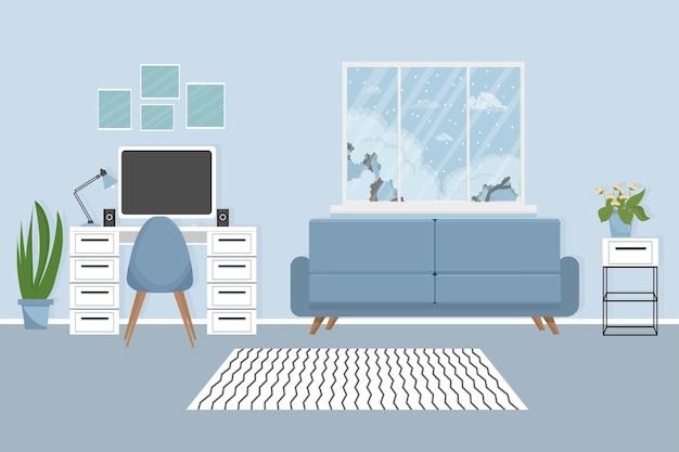 Nowoczesne wnętrze miejsca pracy z roślinami do monitorów stołowych elegancka kolorystyka edukacja lub praca