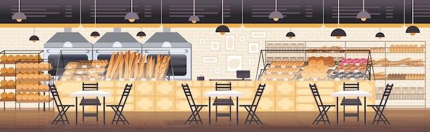 Nowoczesne wnętrze piekarni puste nie ma ludzi restauracja płaska pozioma ilustracja wektorowa