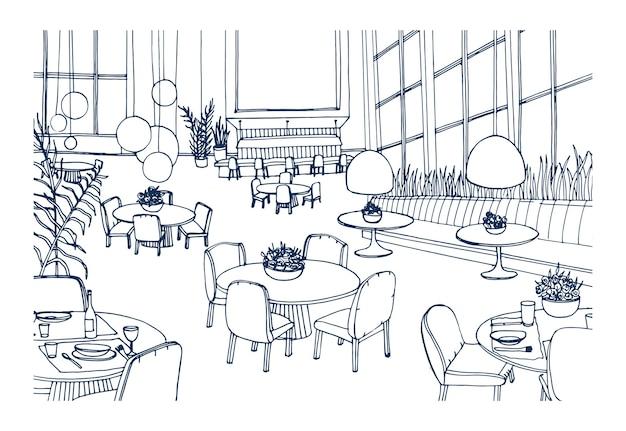 Nowoczesne wnętrze restauracji lub kawiarni wyposażone w eleganckie stoliki