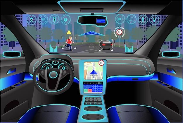 Nowoczesne wnętrze samochodu, widok z kokpitu wewnątrz. ilustracja. sztuczna inteligencja