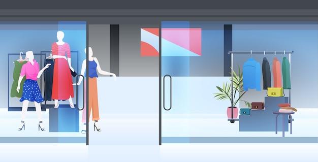 Nowoczesne wnętrze sklepu mody puste nie ma ludzi sklep odzieżowy kobiece poziome ilustracji wektorowych