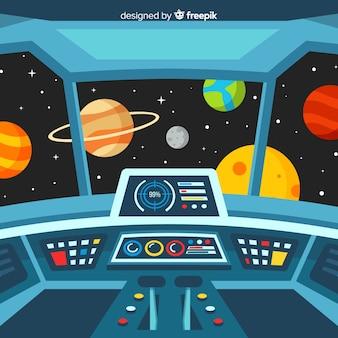 Nowoczesne wnętrze statku kosmicznego tło z płaska konstrukcja