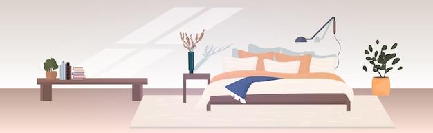 Nowoczesne wnętrze sypialni puste nie ma ludzi dom pokój z meblami poziomymi