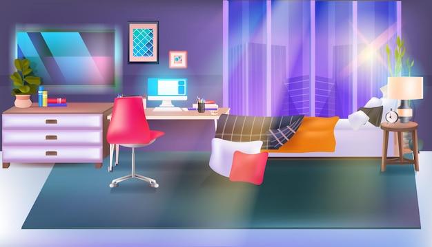 Nowoczesne wnętrze sypialni pusty pokój bez ludzi z meblami poziomymi