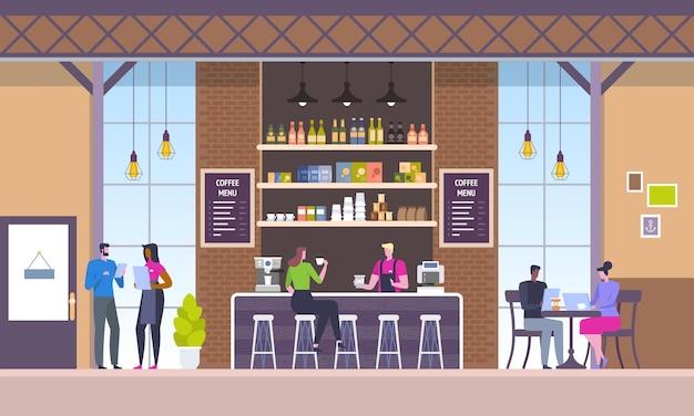Nowoczesne wnętrze w miejscu pracy. kawiarnia w stylu loftu. ludzie w kreatywnym biurze coworkingowym. kampus uniwersytecki. mieszkanie restauracyjne.