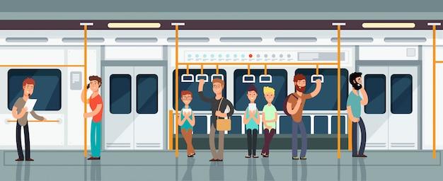 Nowoczesne wnętrze wagonu pasażerskiego metra z ludźmi