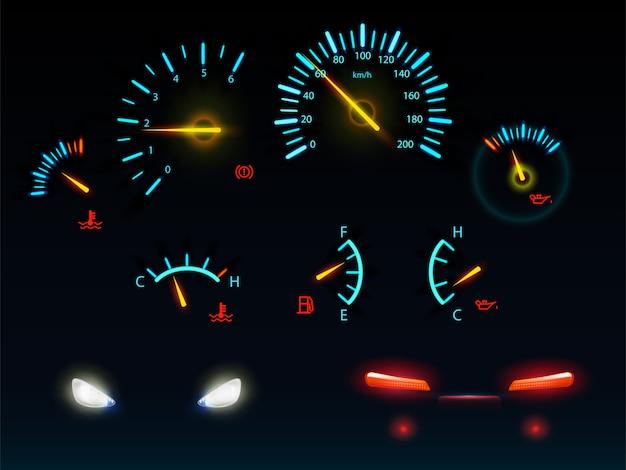 Nowoczesne wskaźniki deski rozdzielczej samochodu świecące w ciemności światło niebieskie i pomarańczowe wagi i strzałki, realistyczne ilustracje wektorowe przednie i tylne reflektory samochodowe