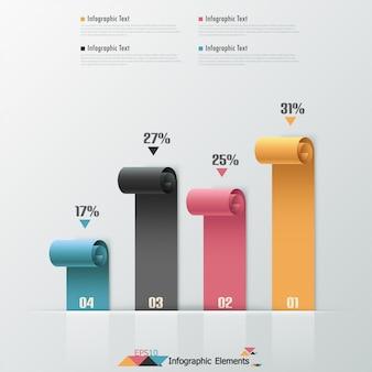 Nowoczesne wstążki papierowe infografiki