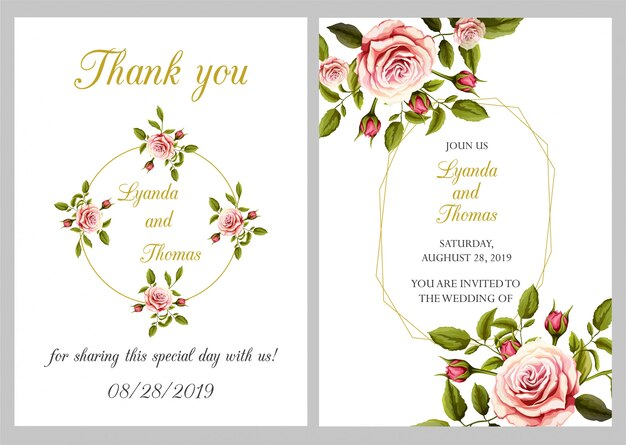 Nowoczesne zaproszenie na ślub z dziękuję