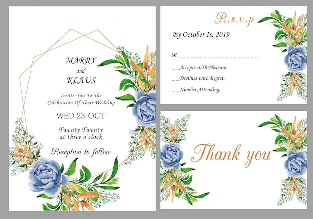 Nowoczesne zaproszenie na ślub z kartą dziękuję i rsvp