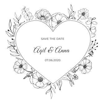 Nowoczesne zaproszenie na ślub z pięknym kwiatem grafiki liniowej
