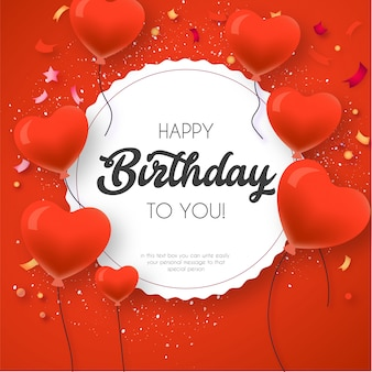 Nowoczesne zaproszenie urodzinowe z sercem balon