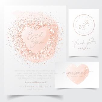 Nowoczesne zaproszenie z konfetti serca