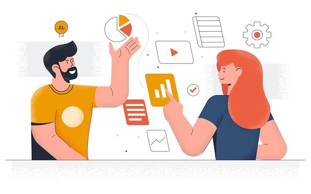 Nowoczesne zarządzanie przepływem pracy. młody mężczyzna i kobieta pracują razem nad projektem. praca biurowa i zarządzanie czasem. łatwe do edycji i dostosowywania. ilustracja