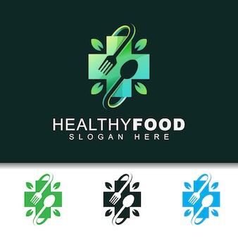 Nowoczesne, zdrowe jedzenie z szablonu projektu logo liść