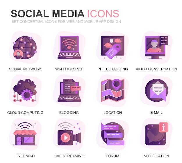 Nowoczesne zestaw mediów społecznościowych i sieci gradientu płaskie ikony