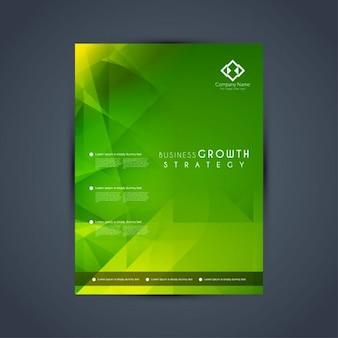 Nowoczesne zielone wielokątne szablon broszura biznes