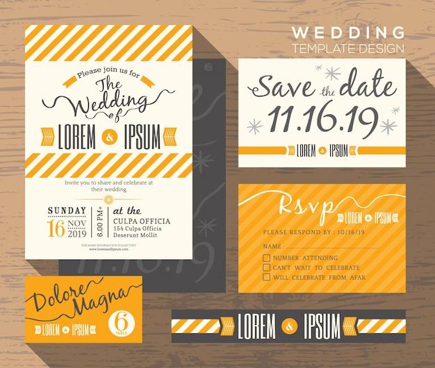 Nowoczesne żółtym paskiem motyw zaproszenia ślubne ustawić szablon miejsce karta odpowiedzi karta zapisać datę karty