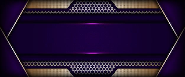 Nowoczesnej technologii fioletowe tło z złotym abstrakcyjnym stylu