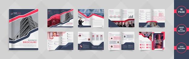 Nowoczesny 16-stronicowy projekt broszury firmowej z czerwonymi i szarymi abstrakcyjnymi kształtami i informacjami