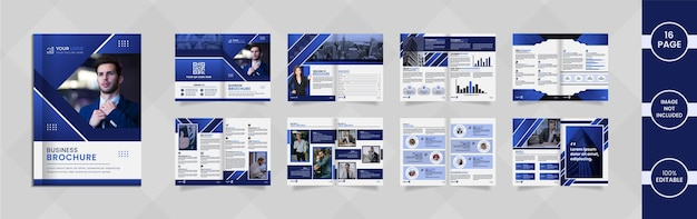 Nowoczesny 16-stronicowy projekt broszury firmy z abstrakcyjnymi kształtami i informacjami w kolorze niebieskim gradientu.