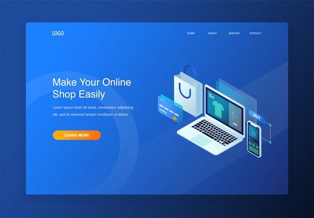 Nowoczesny 3d izometryczny ilustracja koncepcja e-commerce, zakupy online, digital marketin