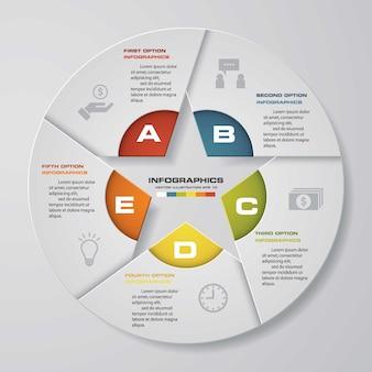 Nowoczesny 5 opcje prezentacji biznesu infografiki szablon. eps 10.