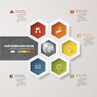 Nowoczesny 5 opcje prezentacji biznesu infografiki szablon