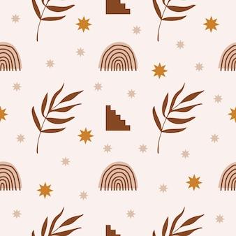 Nowoczesny abstrakcyjny estetyczny wzór z geometrycznymi elementami architektury roślinami i tęczą