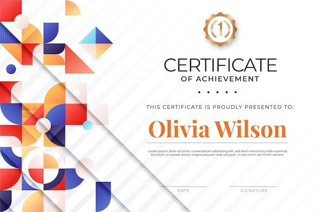 Nowoczesny abstrakcyjny projekt szablonu certyfikatu