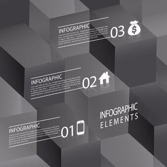 Nowoczesny abstrakcyjny szablon elementów infografiki 3d sześcianu