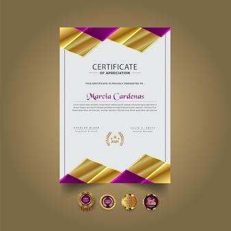 Nowoczesny abstrakcyjny szablon projektu certyfikatu