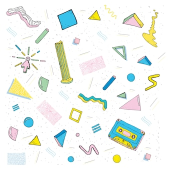 Nowoczesny, abstrakcyjny wzór memphis, styl mody lat 80. i 90. tło z geometrycznymi kształtami, kaseta, kolumna i inne.