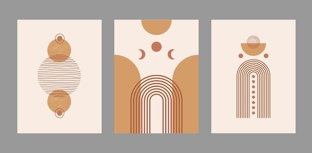 Nowoczesny abstrakcyjny zestaw estetycznych tła z geometrycznymi kształtami i liniami równowagi