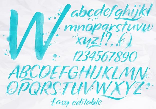 Nowoczesny alfabet akwarela niebieski kolor