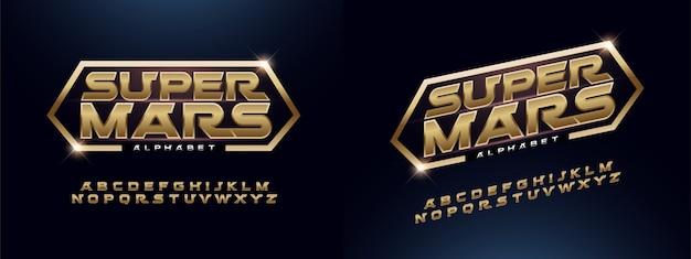 Nowoczesny alfabet czcionki złoty technologia typografii